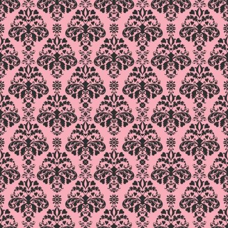 rosa negra: Seamless Pink Damask Negro Foto de archivo
