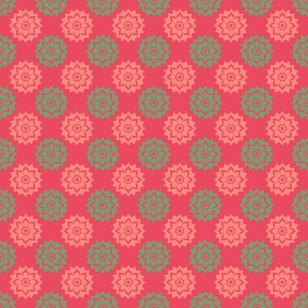 Pink   Green Floral Medallions Stock Photo