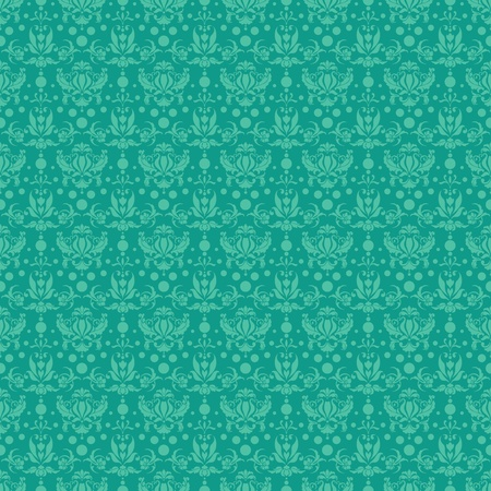 Seamless Teal Damask Pattern photo