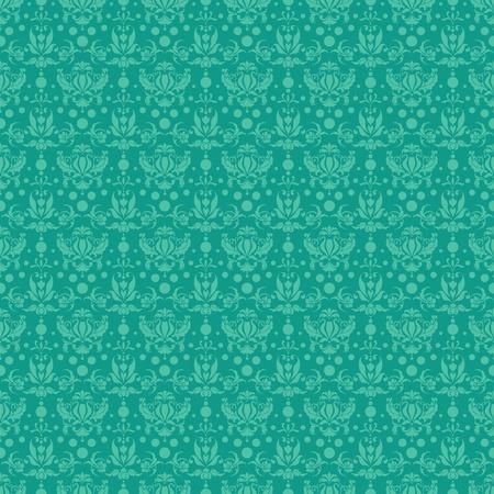 Seamless Teal Damask Pattern Stock Photo - 17282135
