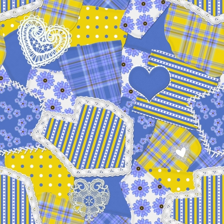 patchwork: Seamless Crazy Quilt Pattern Stock Photo