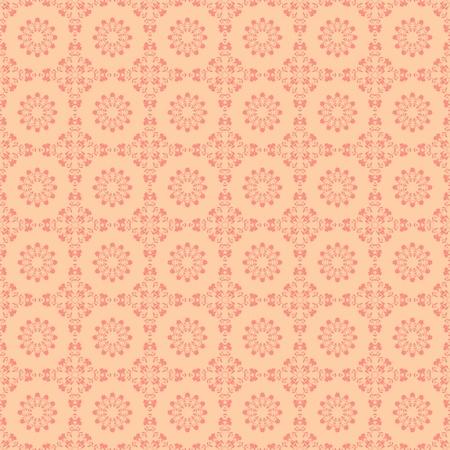 シームレスなピンクの花のダマスク織メダリオン