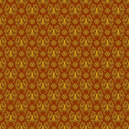 Seamless Rust & Gold Damask photo