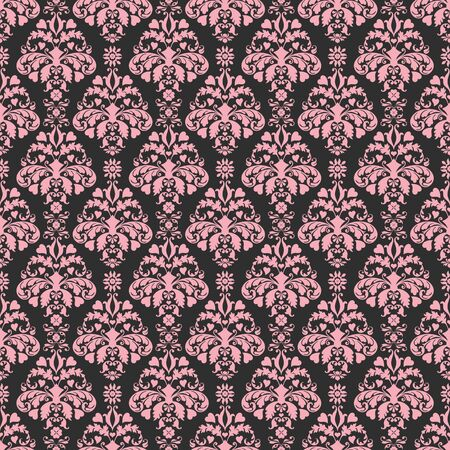 black and pink: Seamless Damask Negro y rosa