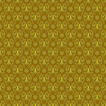 Seamless Gold Damask Stock Photo