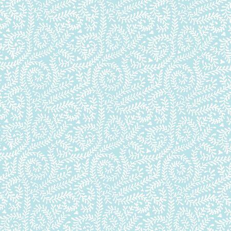 パステル ブルーつるパターンで白
