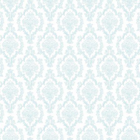 シームレスなパステル ブルーの白いダマスク 写真素材
