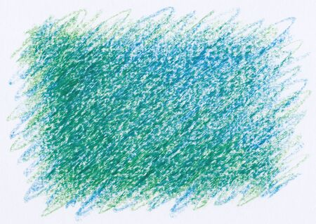 cross hatching: green blue abstract crayon drawings background Stock Photo