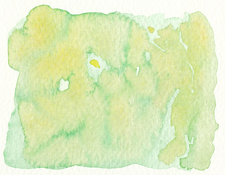 watercolor background in yellow and green tones abstract wet textures background Imagens