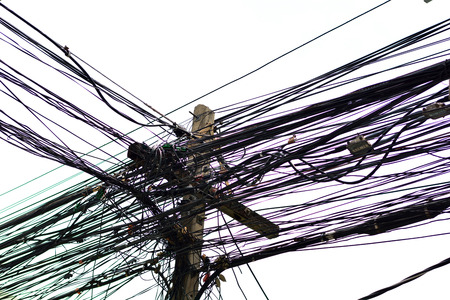 cable tangle: electric pole