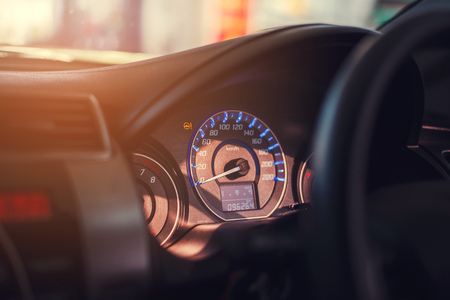 Closeup dashboard of mileage car
