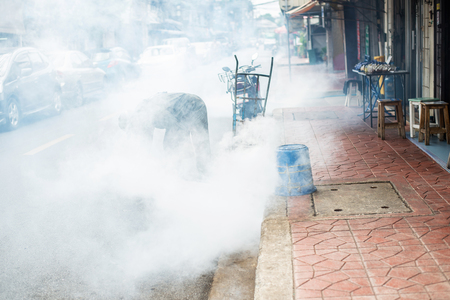 Man work fogging to eliminate mosquito for preventing spread dengue fever and zika virus