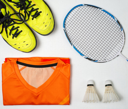 Equipment for playing badminton, Shoes, Sport shirt, Badminton racket, Badminton ball Stock Photo