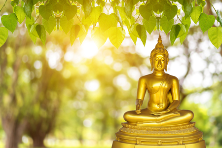 Buddha statue, blurred background with blurred background Banque d'images