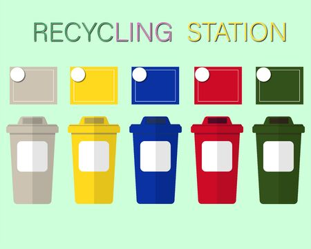 Waste bin by type and color