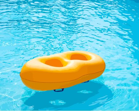 Yellow rubber loop Floating on the pool