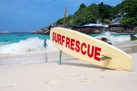 Surfboard on the beach for rescue 版權商用圖片