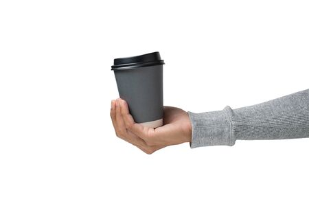 Hands holding a hot coffee cup on white background