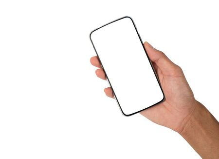 Hand holding smart phone on white background, Communication or advertising 版權商用圖片