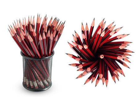 Red pencils in the basket on a white background