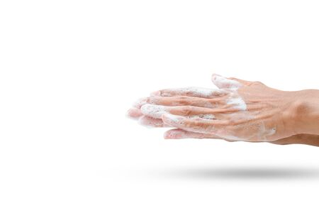 Wash your hands thoroughly with soap to eliminate illness. (clipping paths) 版權商用圖片