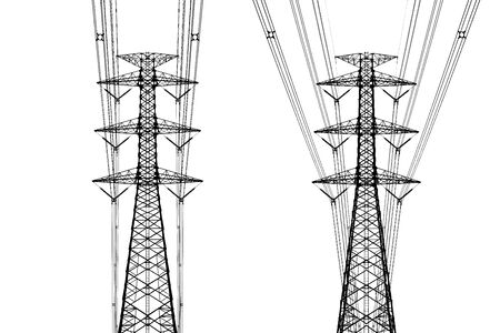 Isolated of high voltage pole on white background, clipping path