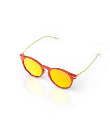 The red sunglass on white background