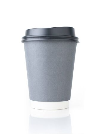 A cup of coffee on white background, Paper cup 版權商用圖片