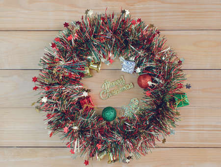 Christmas and New Year on wooden background, Xmas frame 版權商用圖片