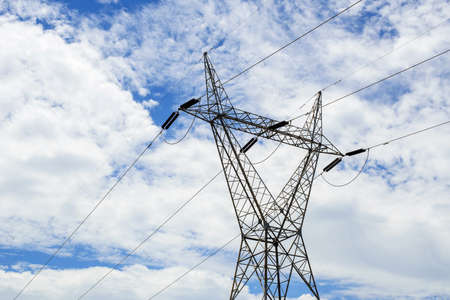 High voltage transmission towers and cloud background 版權商用圖片