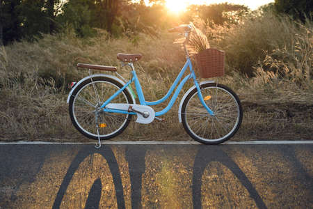 Vintage bicycle with summer grass field at sunset background 版權商用圖片