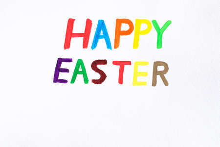 Happy Easter Day hand writing watercolor text, Colorful