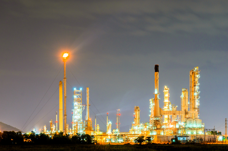 Petrochemical plant at twilight photo