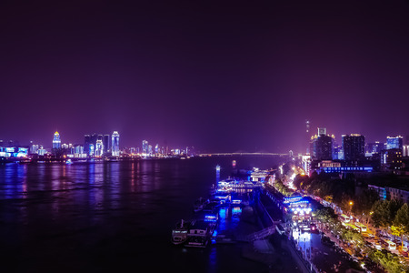 City night view of Wuhan Stock Photo