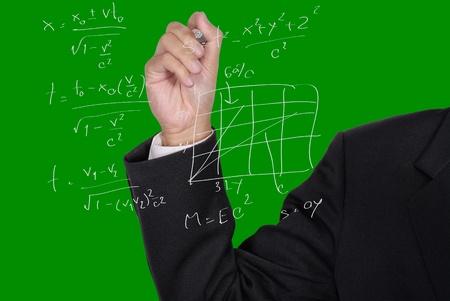 Business man writing formula on the glass screen photo
