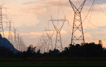 voltage tower in the sunset   photo