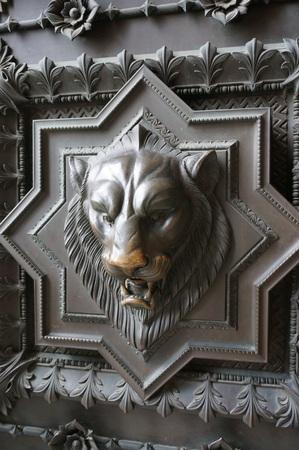 lyon: Door of church in Lyon