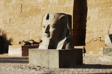 Statue outside the main temple of Luxor, Egypt Banco de Imagens