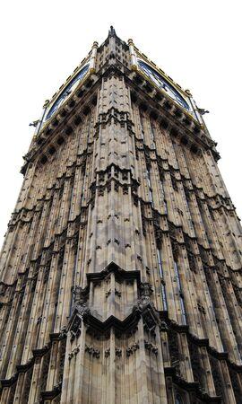 Big Ben Clock Tower, white background, London, UK