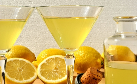 homemade lemon liqueur made from lemon and sugar, a typical recipe of Sorrento in Naples Province