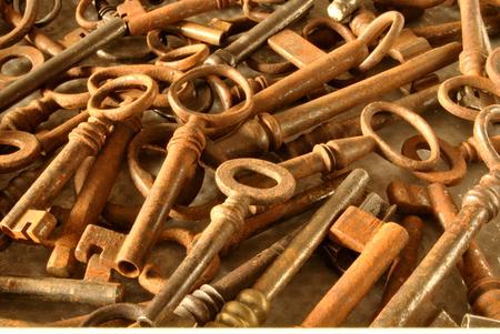 forfeiture: Series of rusty antique keys to open doors old