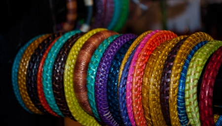 series of bracelets of colored leather photo
