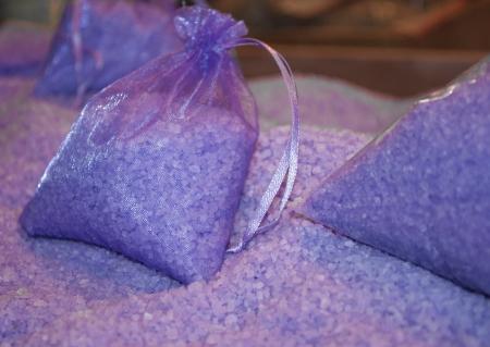 bath salts: Lavender bath salts packaged in sachets