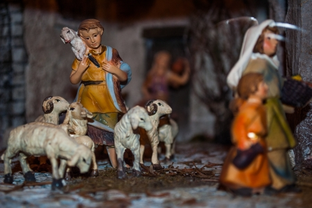 traditional Neapolitan Christmas crib with the typical characters photo