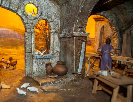 traditional Neapolitan Christmas crib with the typical characters