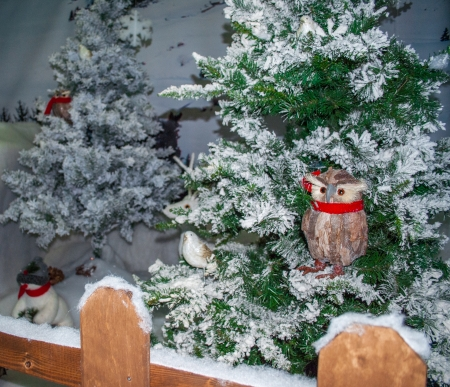 christmas tree with snowy owl mascot photo