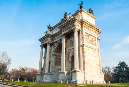 neo classical: Arch of Peace of Milan, built in 1800 in neo-classical architectural style Stock Photo