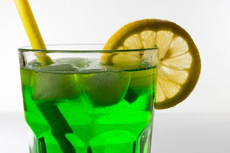 non alcoholic beer: tasty soft drink made from mint, garnished with slice of lemon Stock Photo