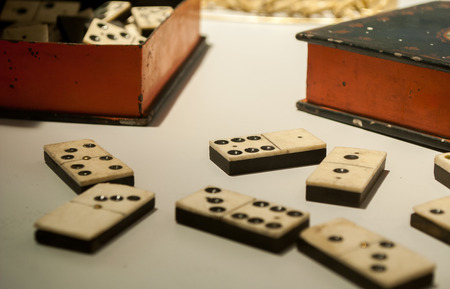 dollhouse: game of dominoes in an ancient version Stock Photo