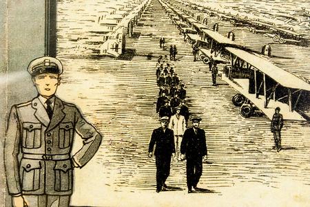 twentieth: old illustration of aeronautics of World War I